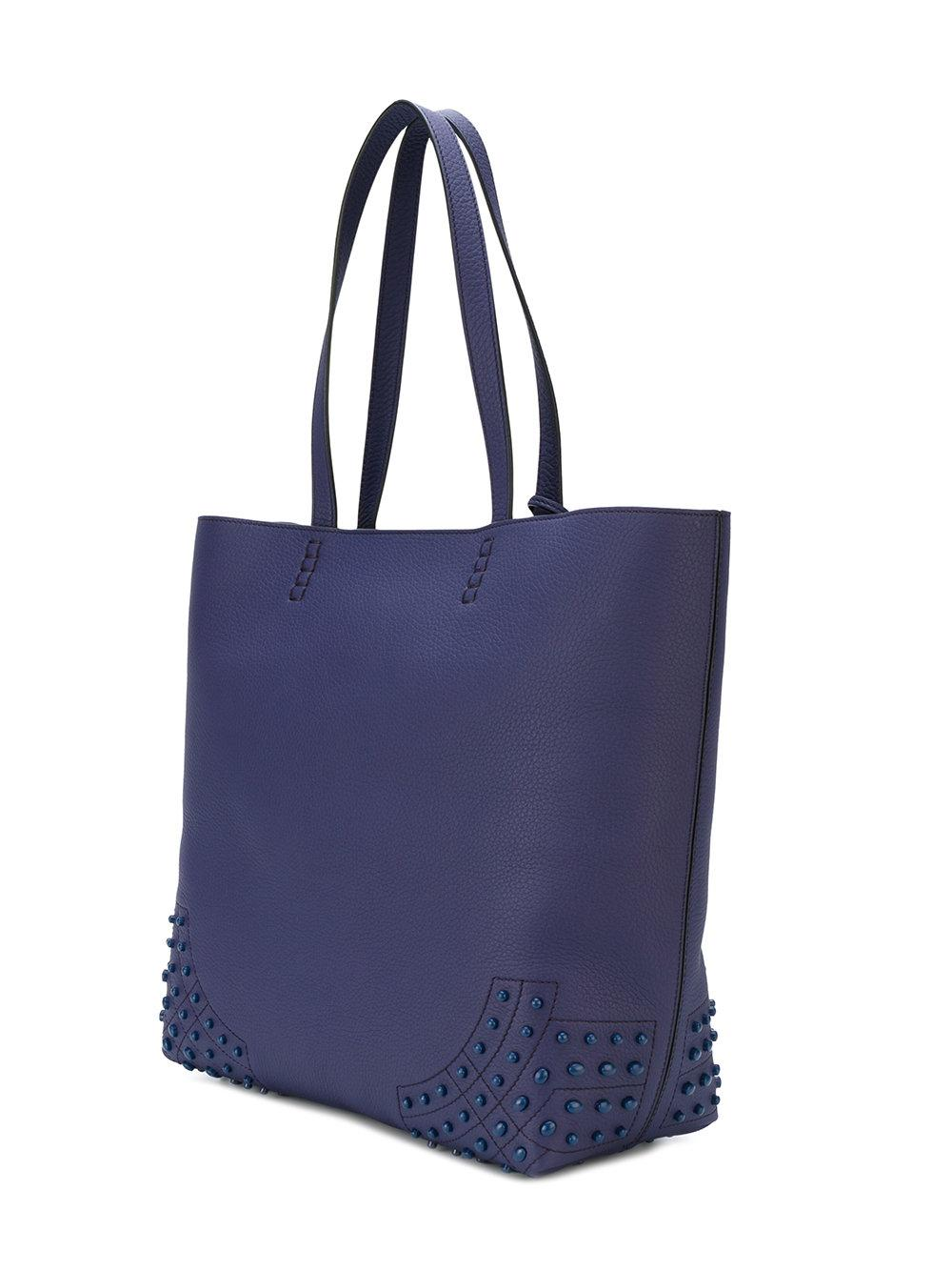 Tod's Leather Enamel Stud Tote Bag in Blue