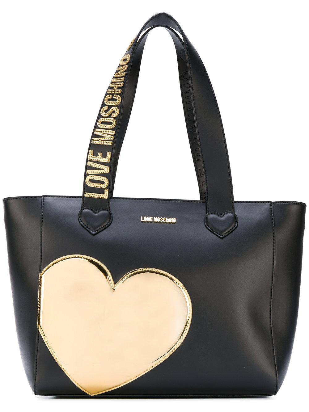 love moschino heart patch tote in black lyst. Black Bedroom Furniture Sets. Home Design Ideas
