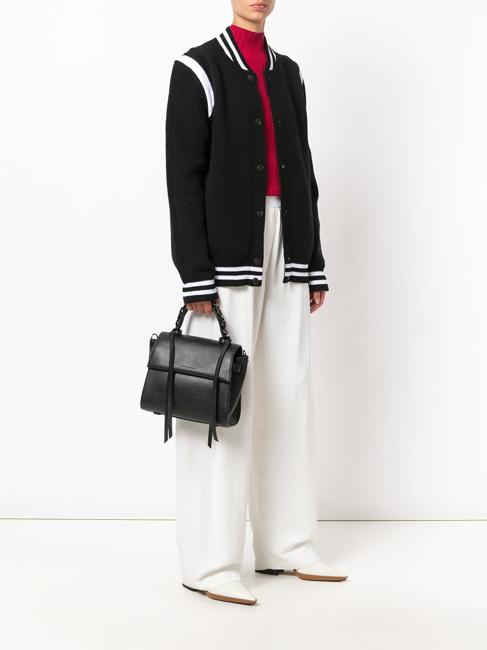 Elena Ghisellini Leather Chain Embellished Handle Tote in Black