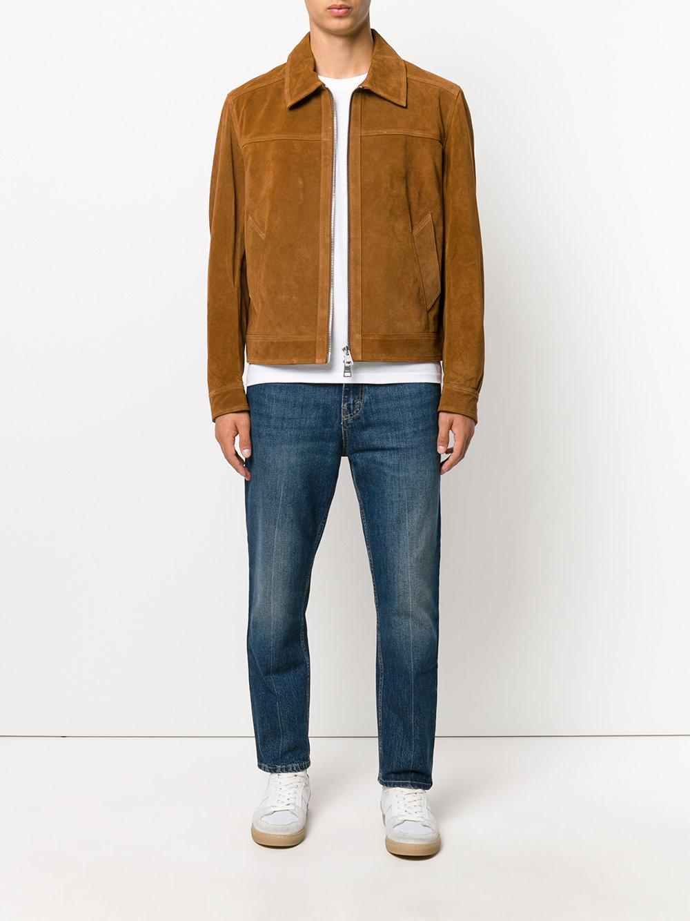 AMI Classic Collar Leather Jacket for Men