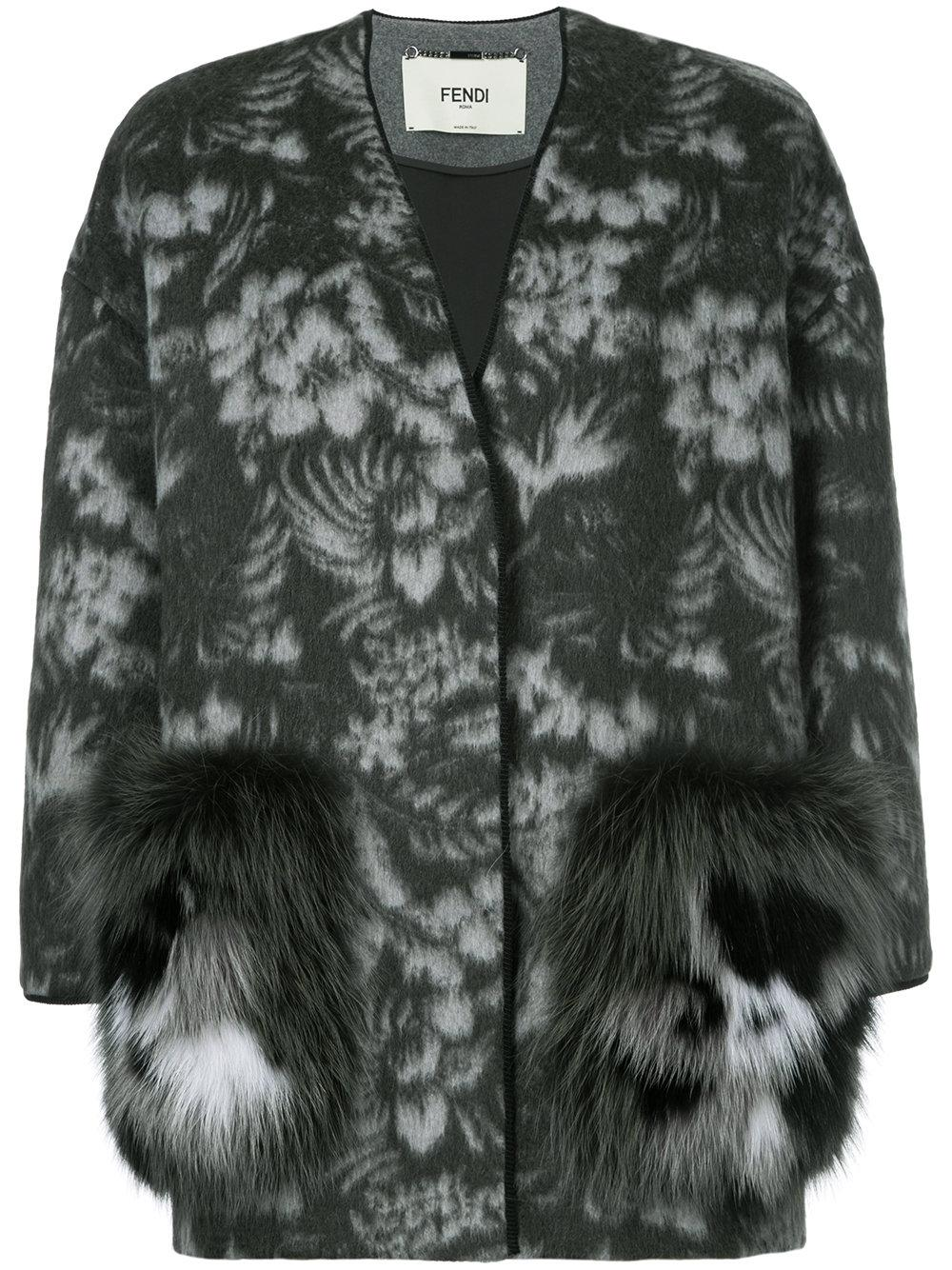Fendi Floral Embroidered Cardi Coat In Gray Lyst