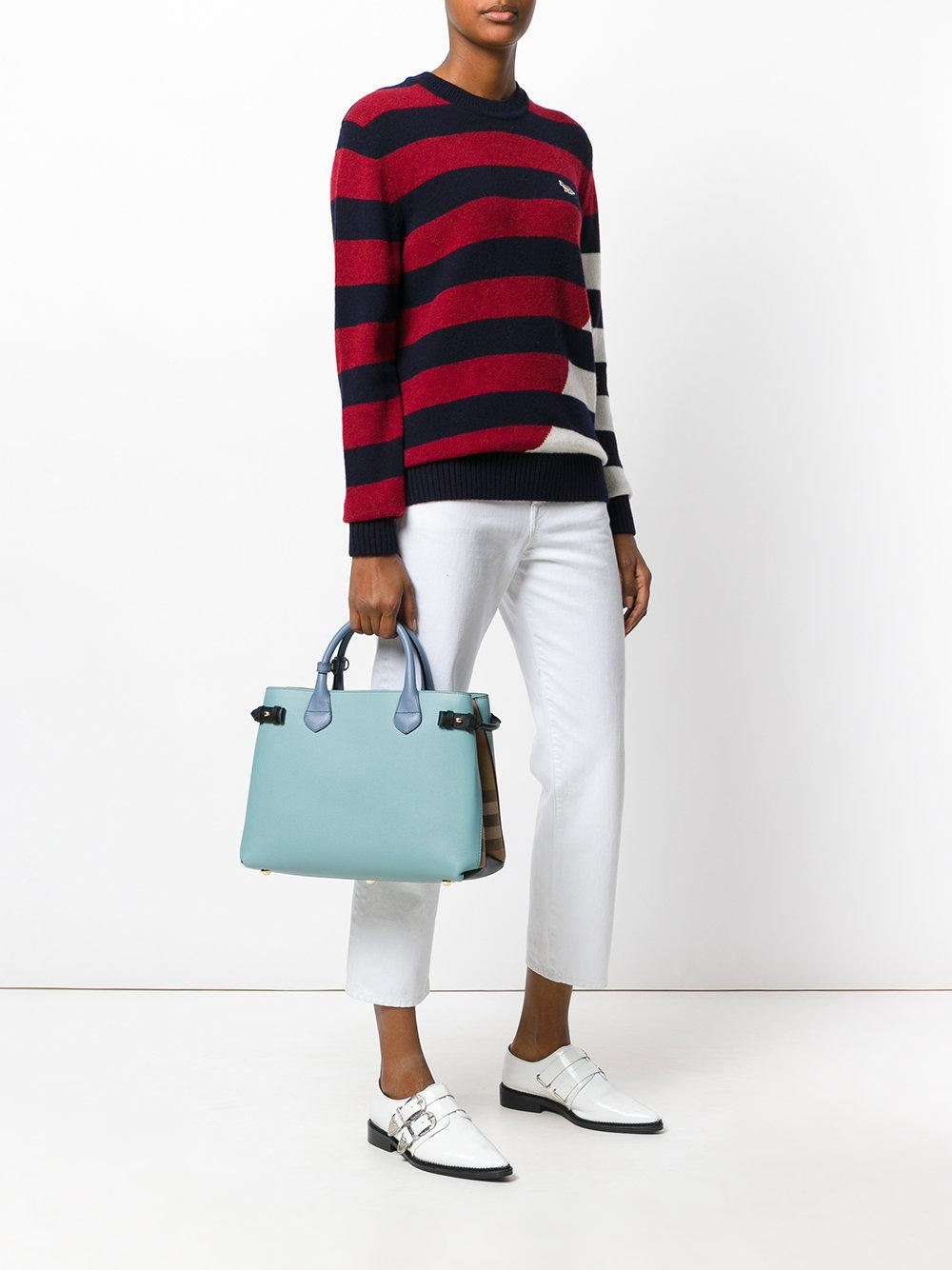 Burberry Leather Panelled Tote in Blue
