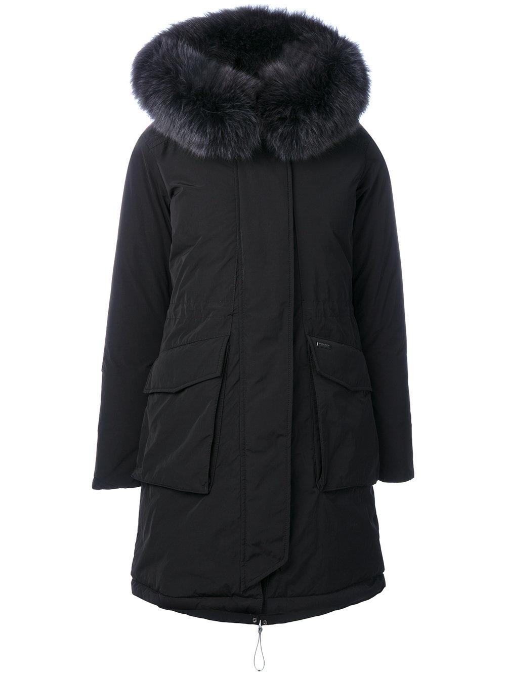 woolrich military parka with fur in black save 2 lyst. Black Bedroom Furniture Sets. Home Design Ideas