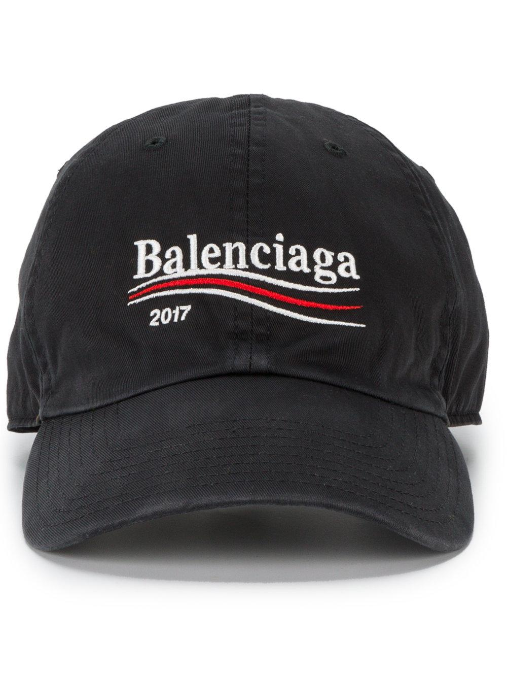 daeacf3b95e Lyst - Balenciaga Campaign Logo Embroidered Hat in Black .