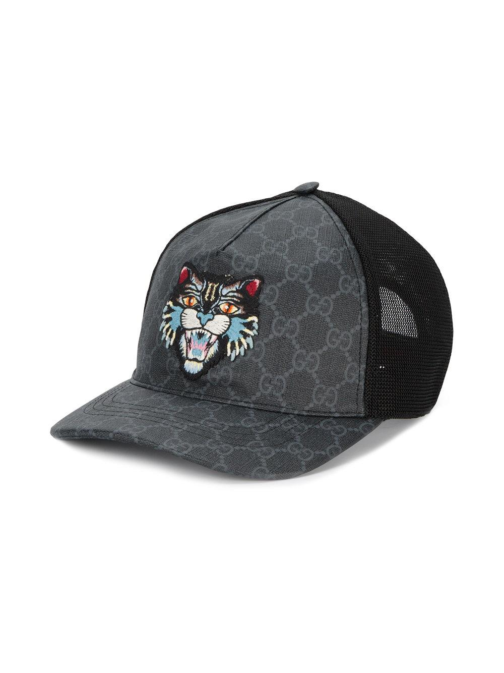 04a6322de17 Lyst - Gucci Gg Supreme Angry Cat Baseball Hat in Black for Men