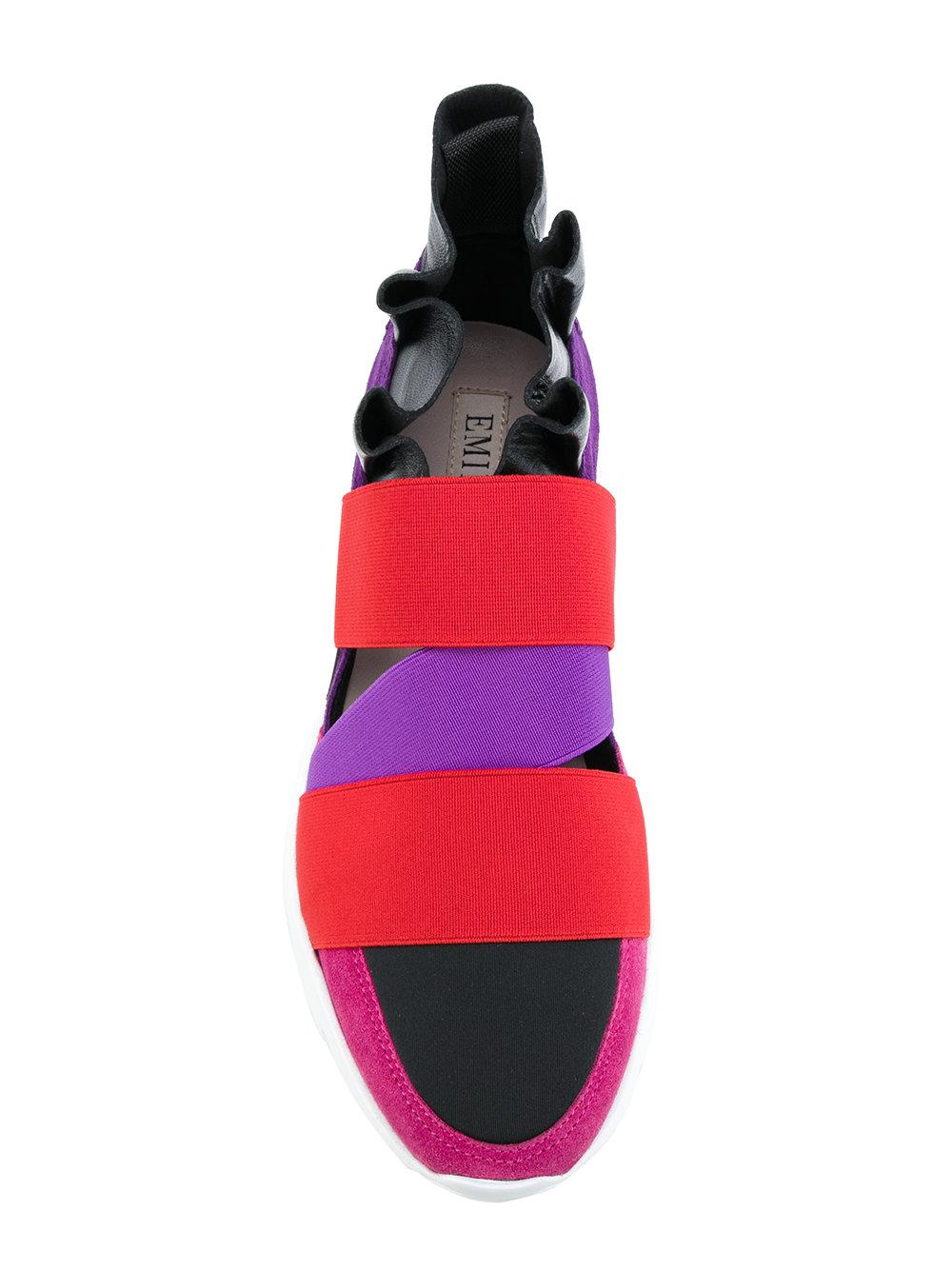 Emilio Pucci Suede Strap Slip-on Sneakers