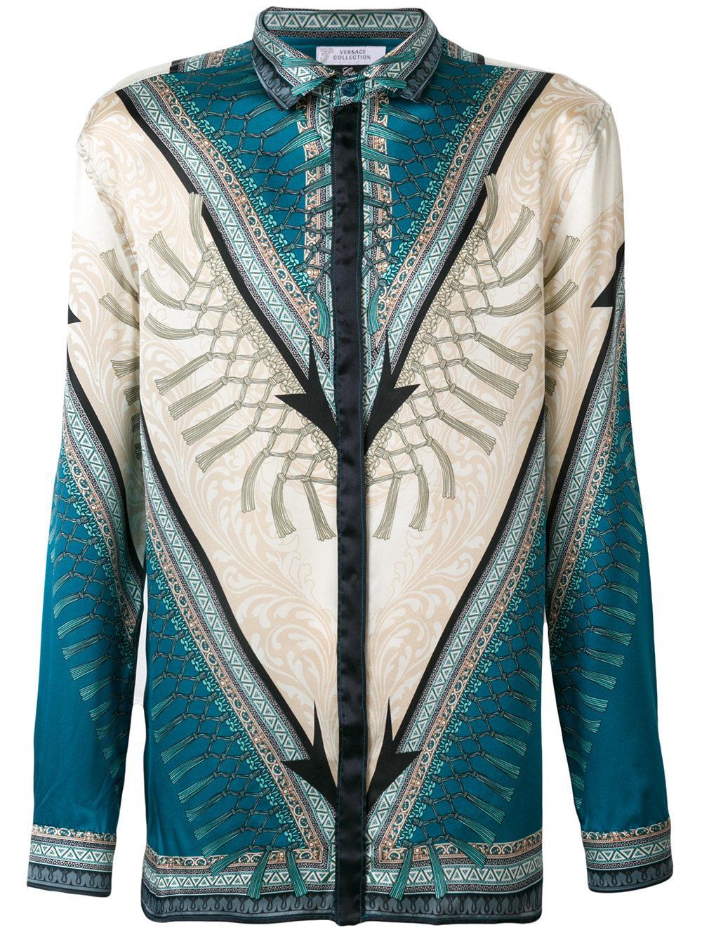 Lyst versace printed long sleeve silk casual button down for Silk button down shirt