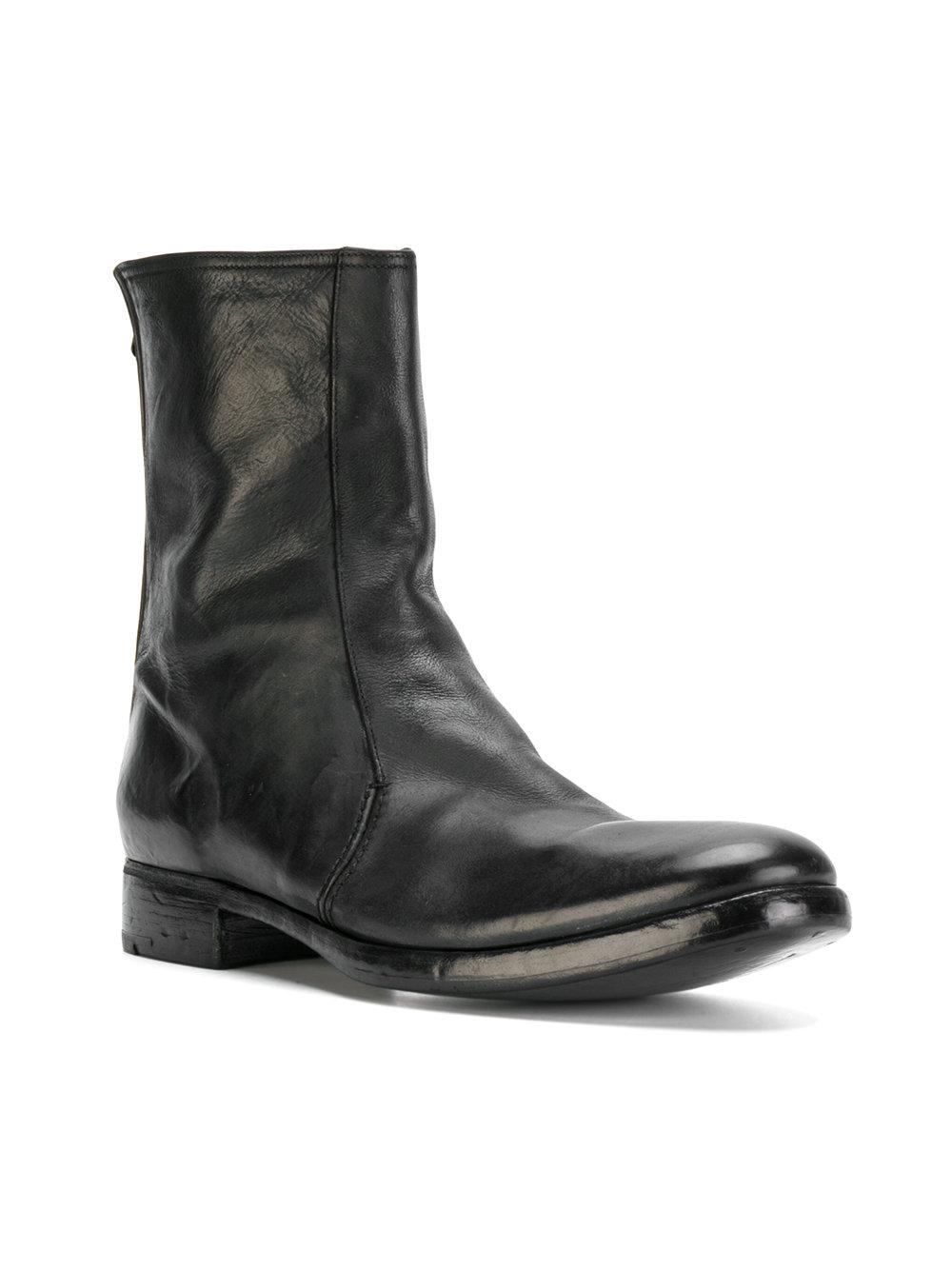 Premiata Leather Distressed Ankle Boots In Black For Men