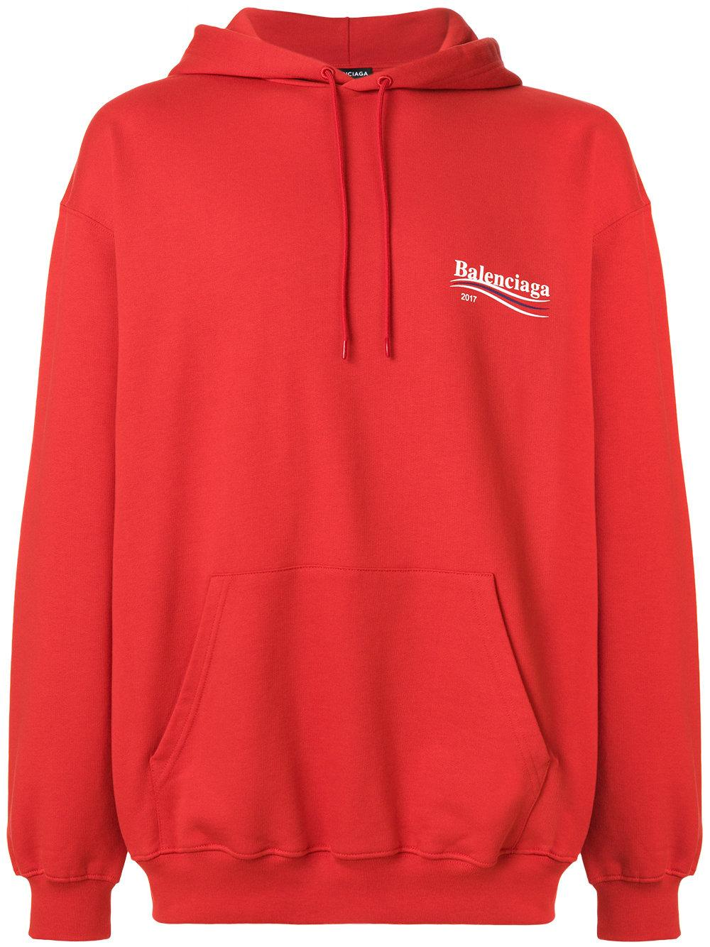 Lyst balenciaga 2017 hoodie in red for men for Balenciaga t shirt red