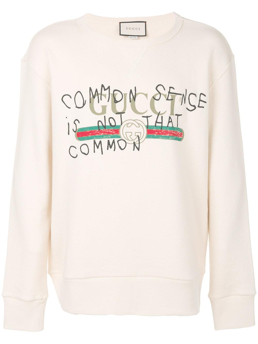 af338d3b60d Lyst - Gucci Common Sense Is Not That Common Sweatshirt in White for Men