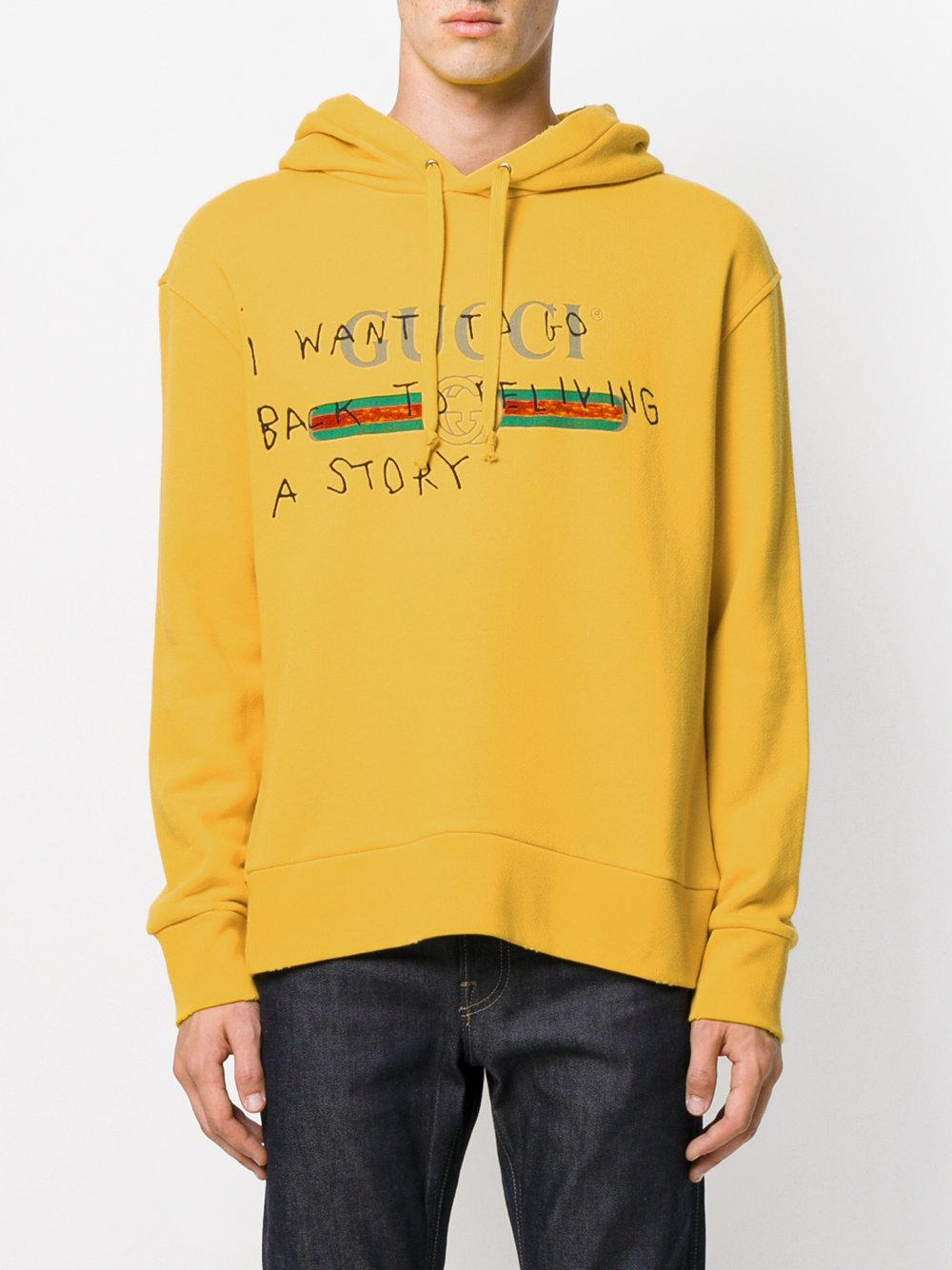 ba29f12112f0 Gucci Coco Capitán Logo Hoodie in Yellow for Men - Lyst