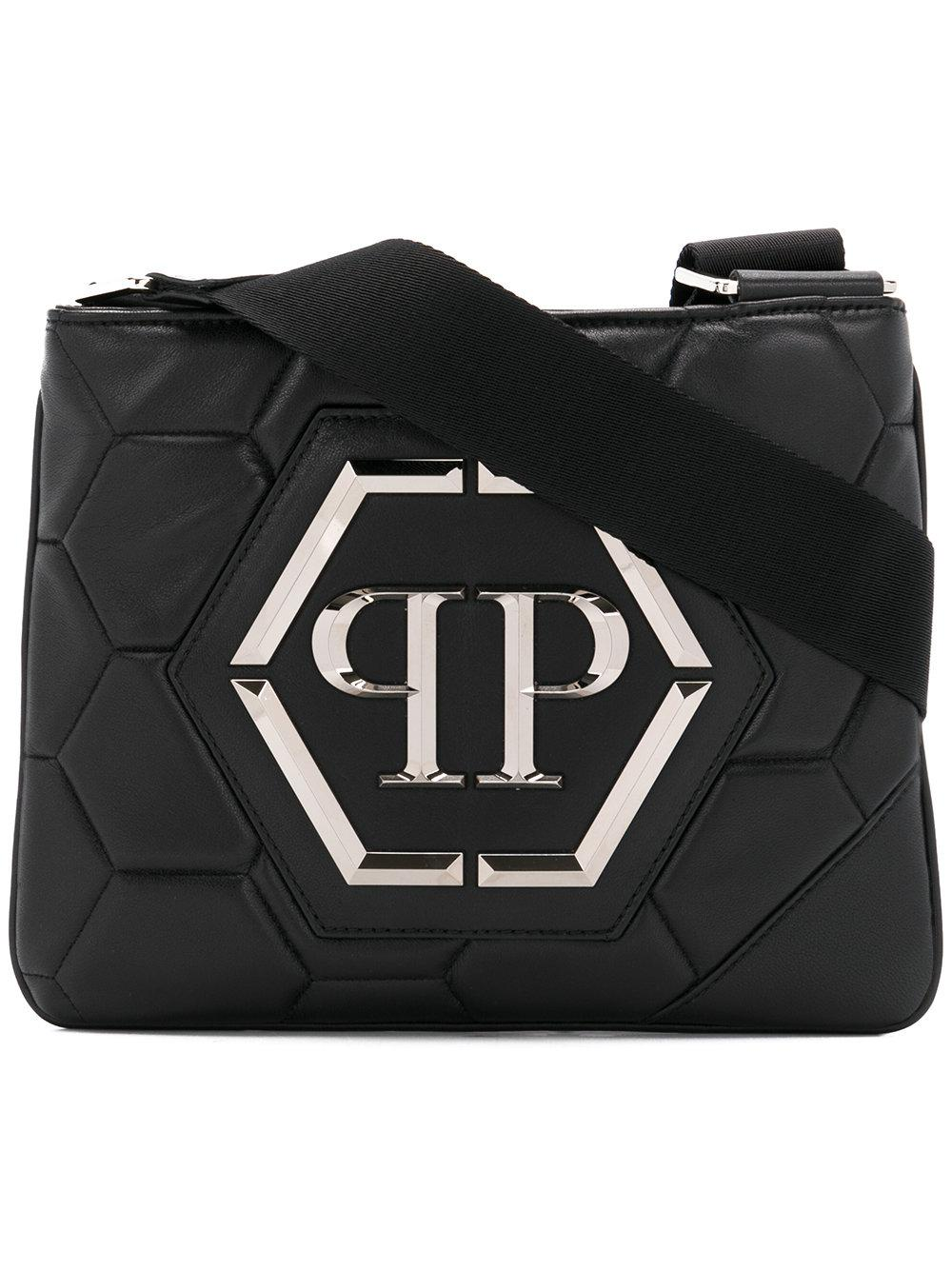 lyst philipp plein logo messenger bag in black for men. Black Bedroom Furniture Sets. Home Design Ideas