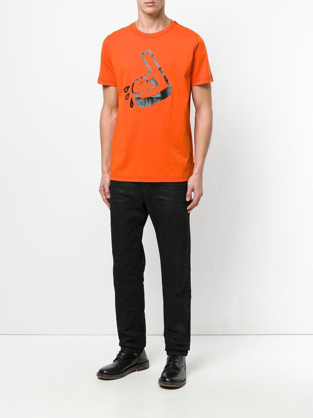 diesel printed t shirt in orange for men lyst. Black Bedroom Furniture Sets. Home Design Ideas