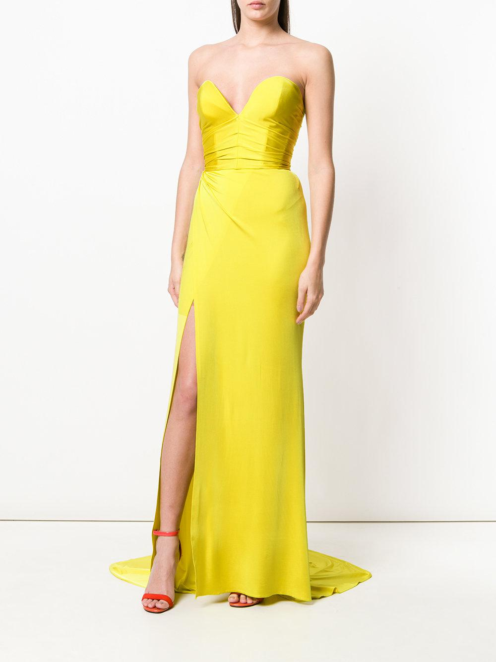 Alexandre Vauthier Synthetic Strapless Slit Front Gown in Yellow & Orange (Yellow)
