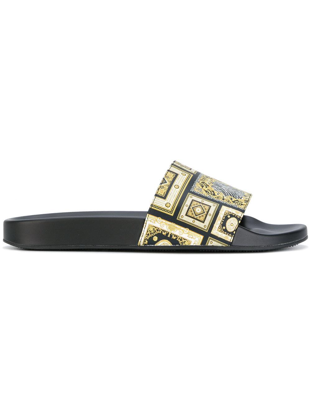 Lyst versace signature 17 print pool slides for men for Versace pool design