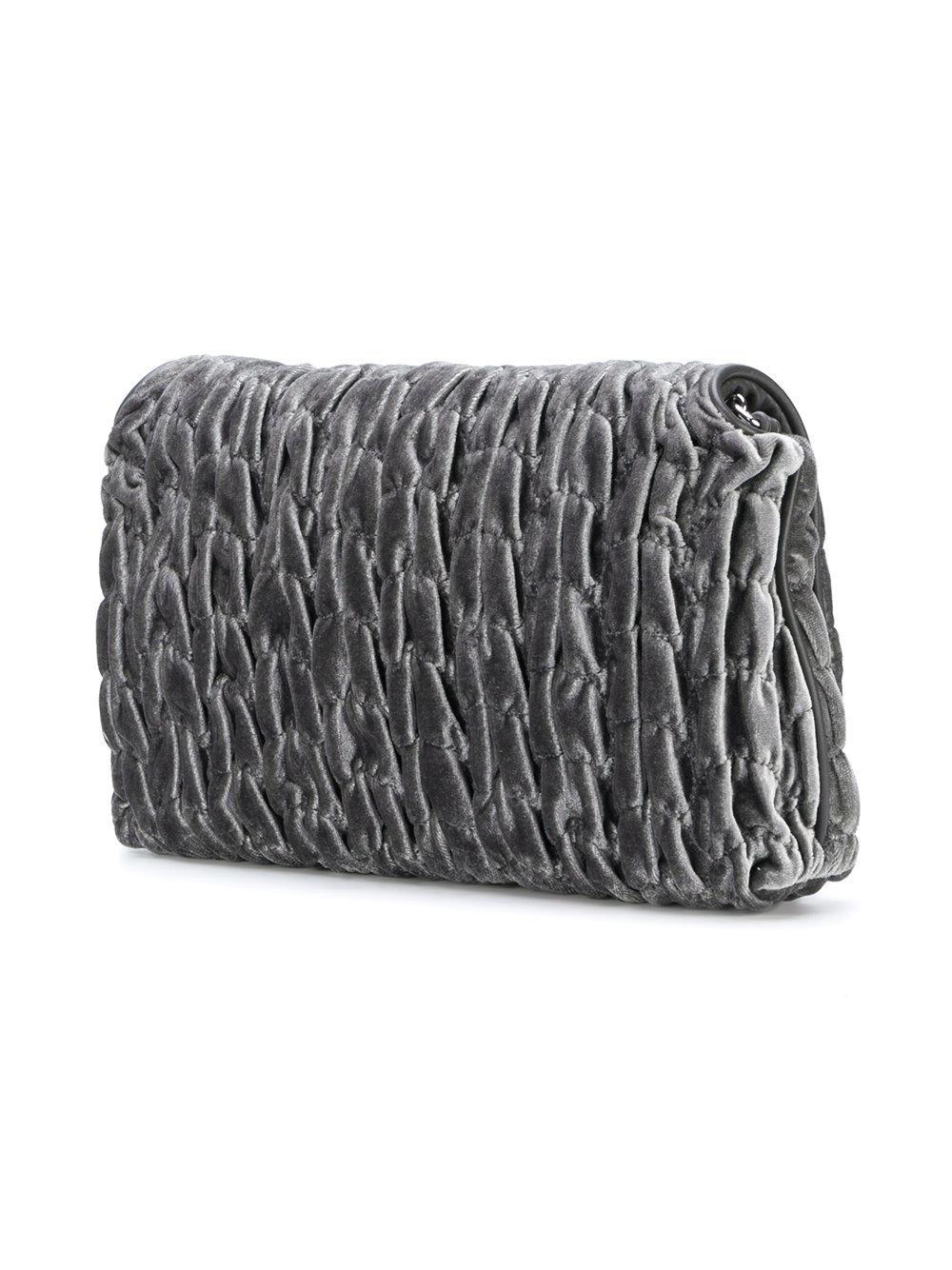 Love Moschino Velvet Textured Cross Body Bag in Grey (Grey)