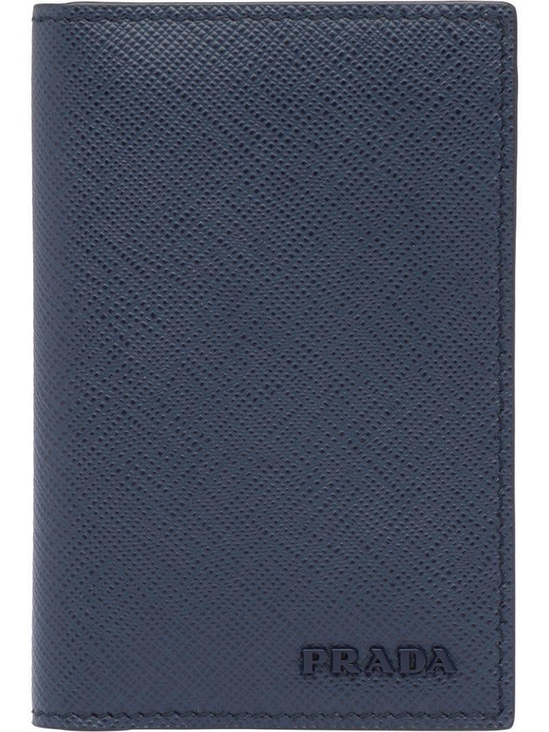 c4225ff1b794 Lyst - Prada Saffiano Leather Card Holder in Blue for Men