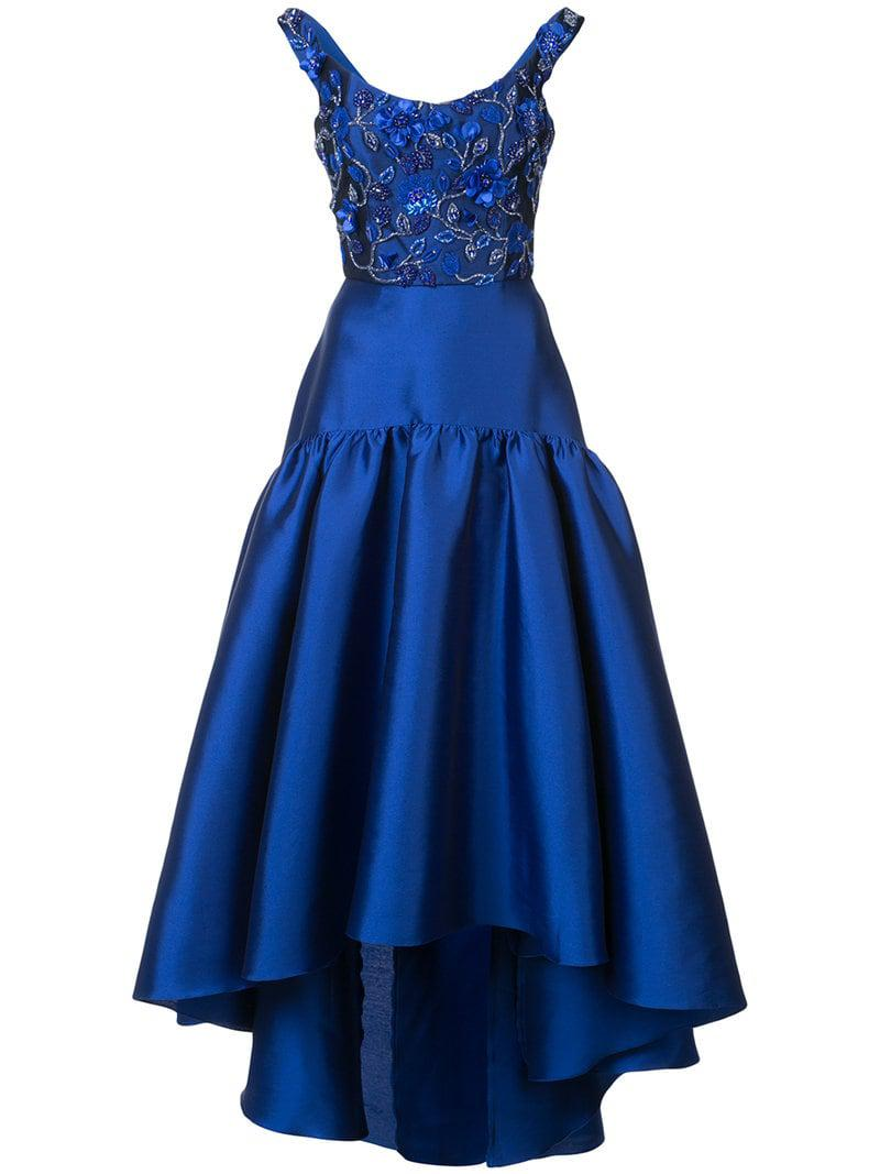 4f0ecc57a25c Lyst - Marchesa notte Floral-embroidered Asymmetric Gown in Blue