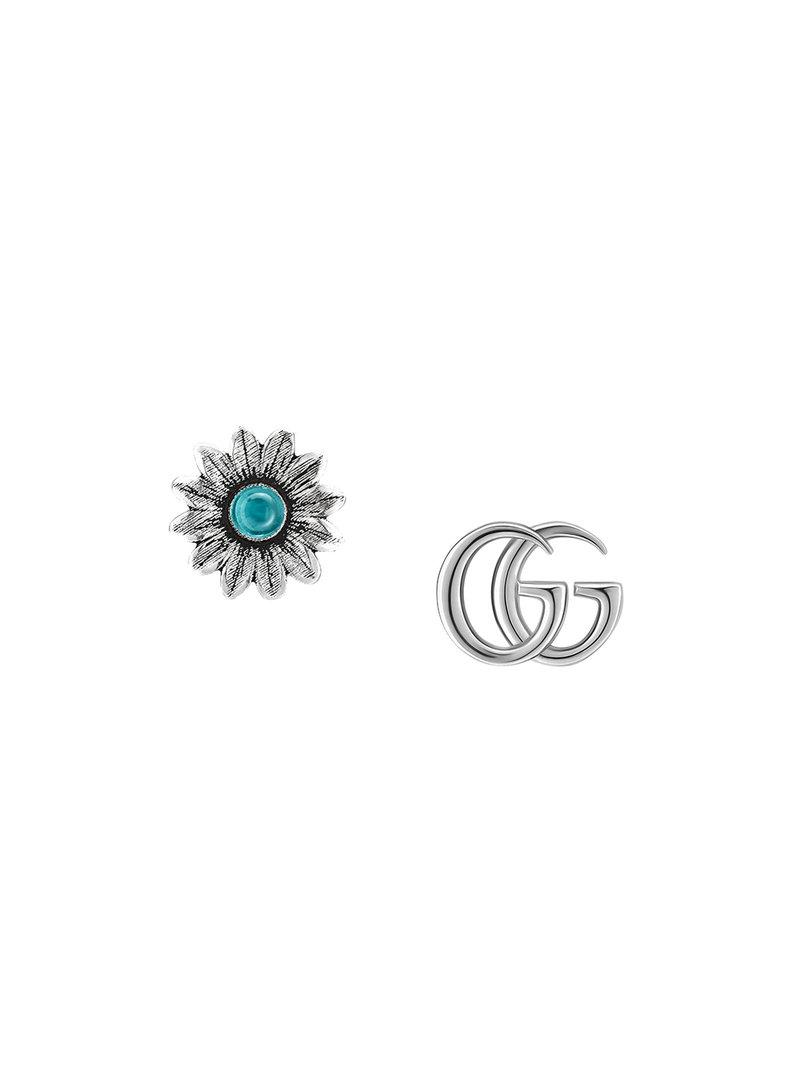 4e034478af6 Gucci Double G Flower Stud Earrings In Metallic Save