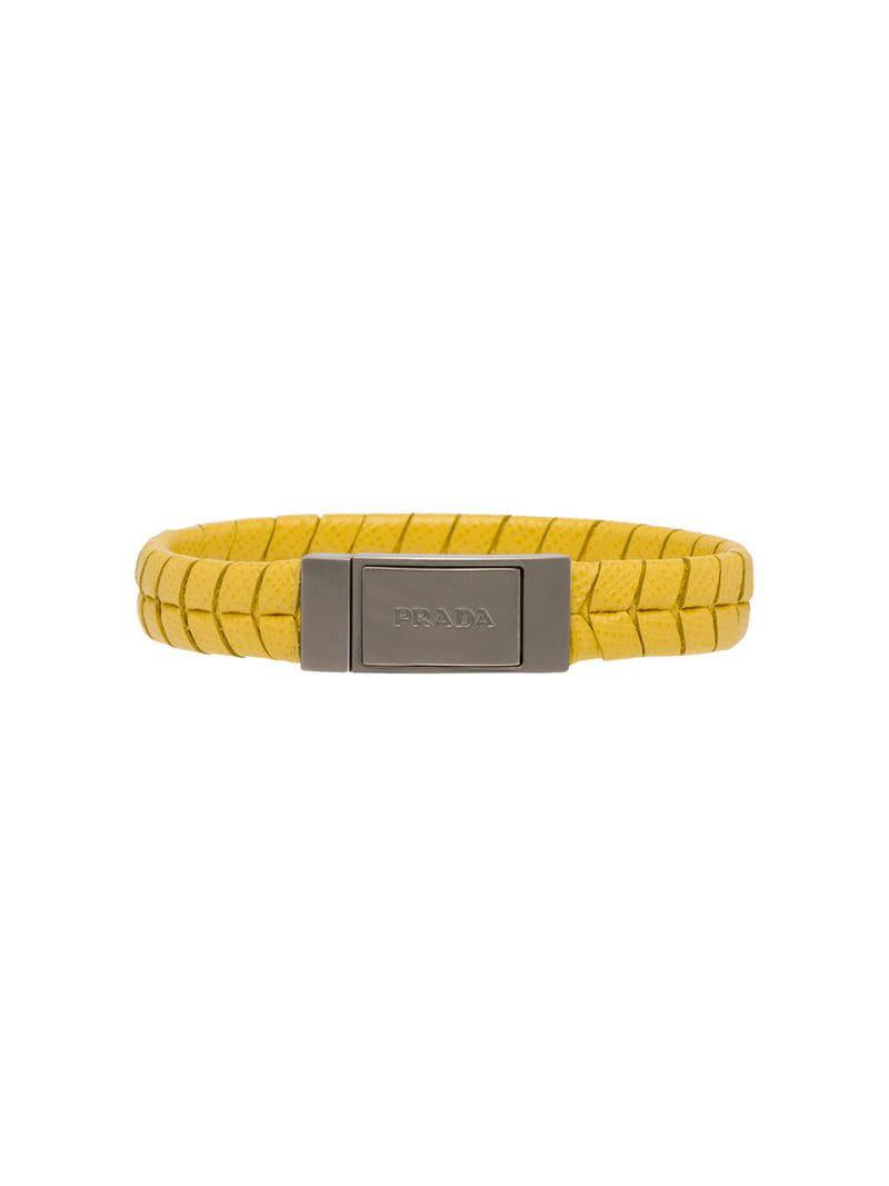 25199dd08ed9c Prada - Yellow Armband aus Saffiano-Leder for Men - Lyst. Vollbild ansehen