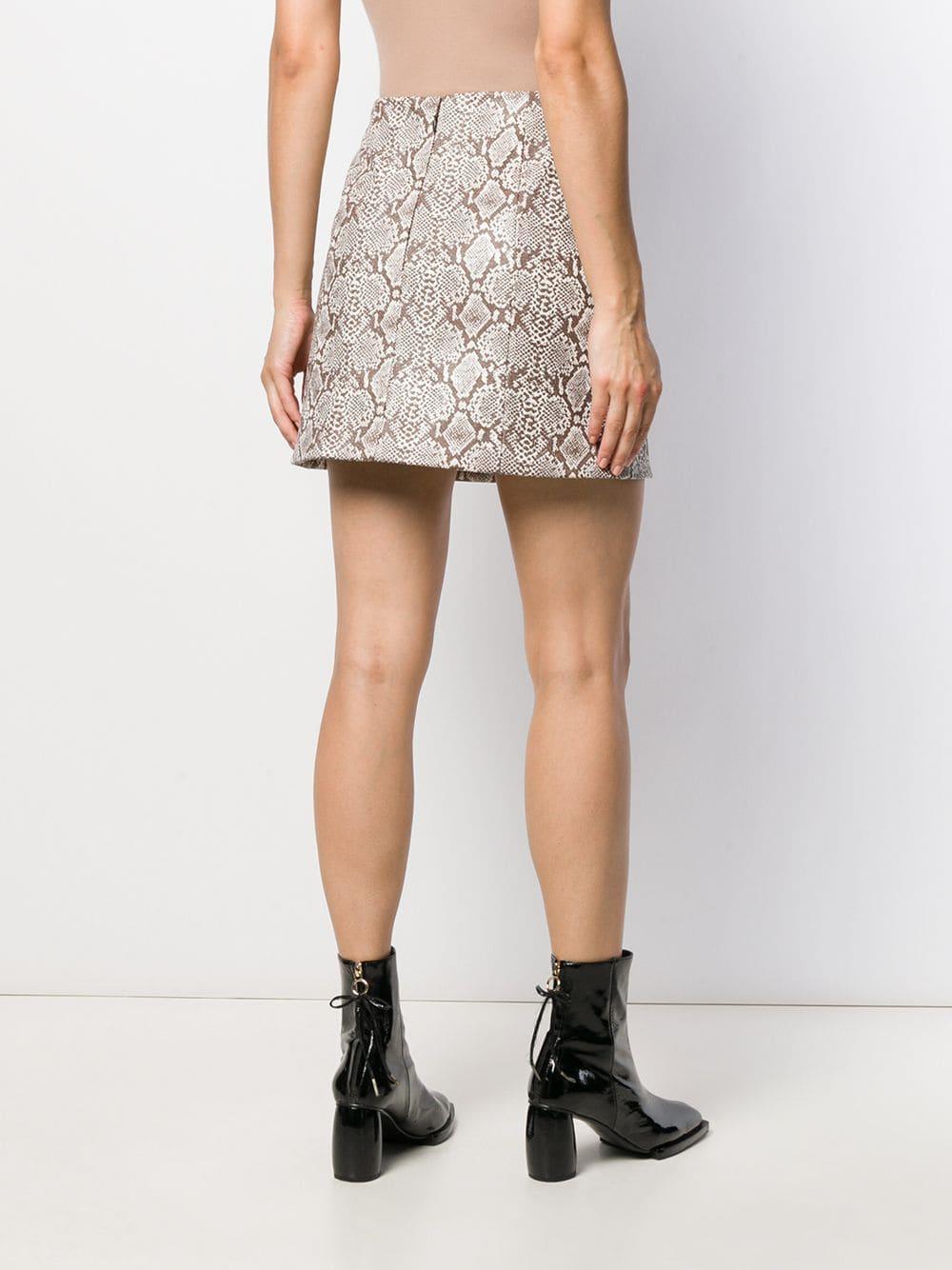 Falda con estampado de piel de pitón ALEXACHUNG de Algodón de color Marrón