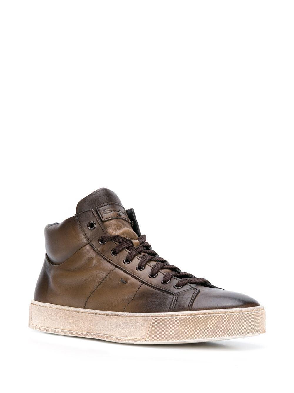 Zapatillas altas con efecto desgastado Santoni de hombre de color Marrón
