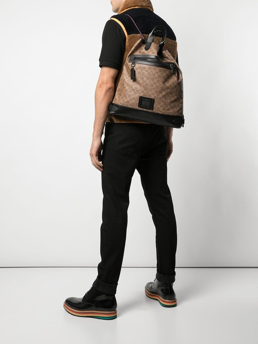 COACH Leather Academy Drawstring Backpack in Brown for Men - Lyst