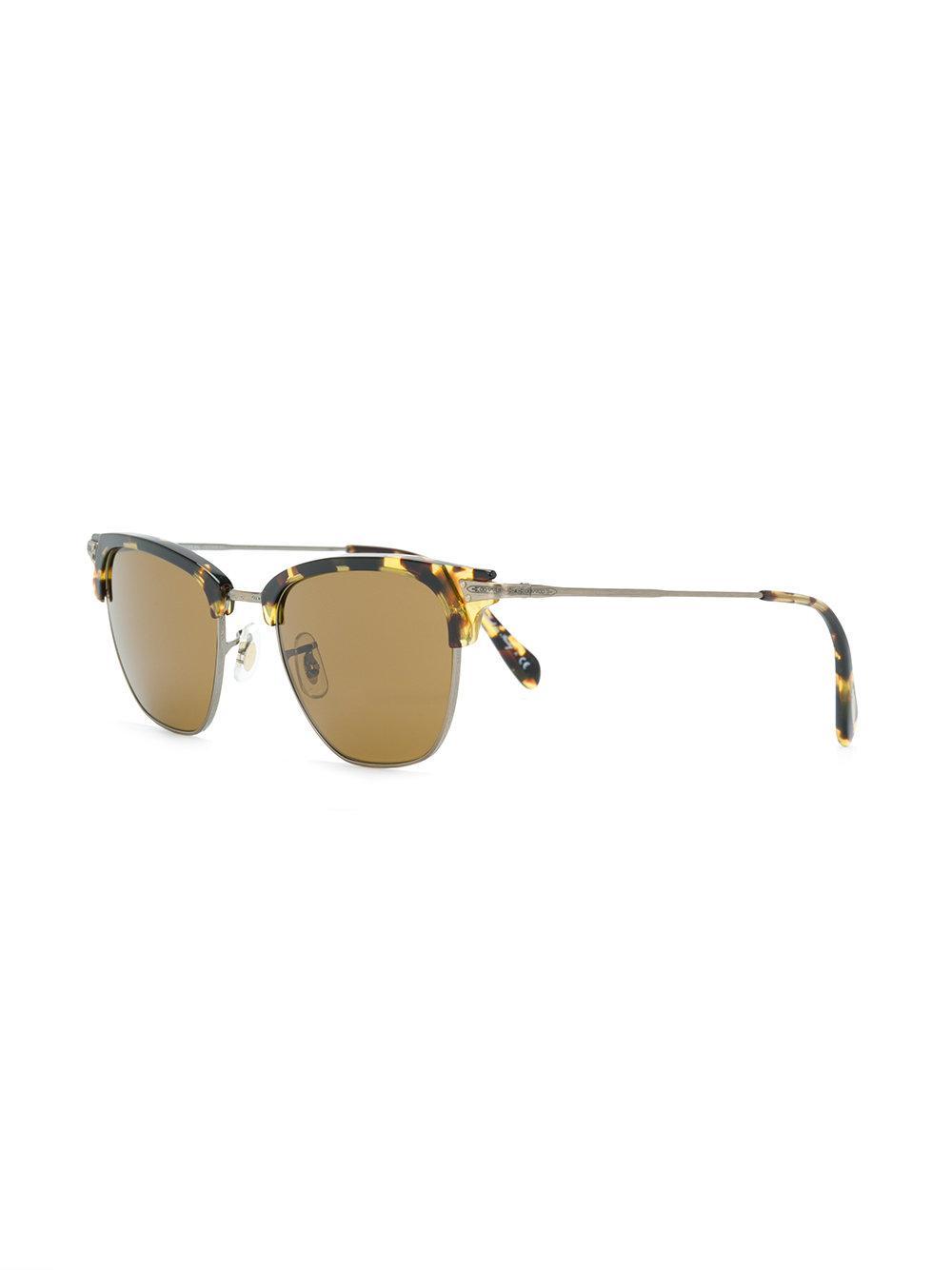 dd98267797d Oliver Peoples Tortoiseshell Half-frame Sunglasses in Brown - Lyst