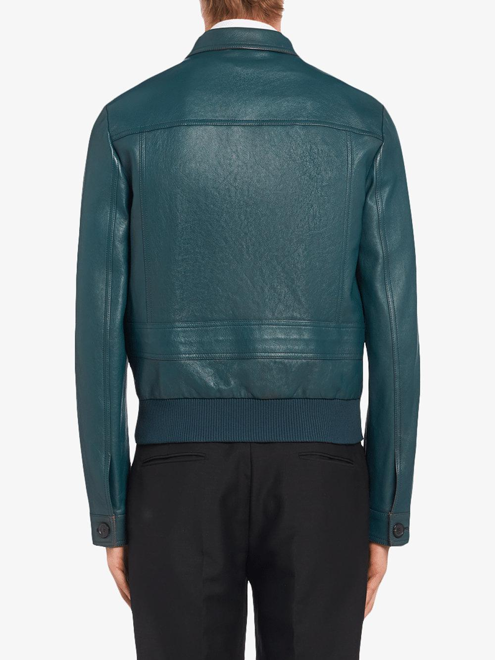 Prada Nappa Leather Boxy-fit Jacket in Blue for Men