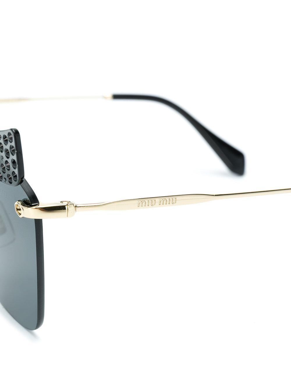 Miu Miu Embellished Cat Eye Sunglasses in Black