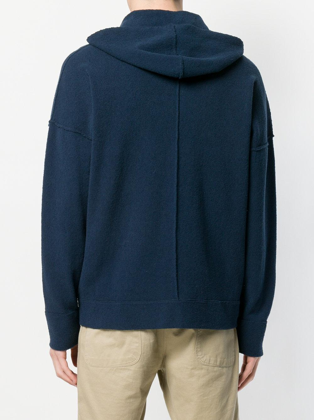 Roberto Collina Cotton Relaxed Fit Hoodie in Blue for Men
