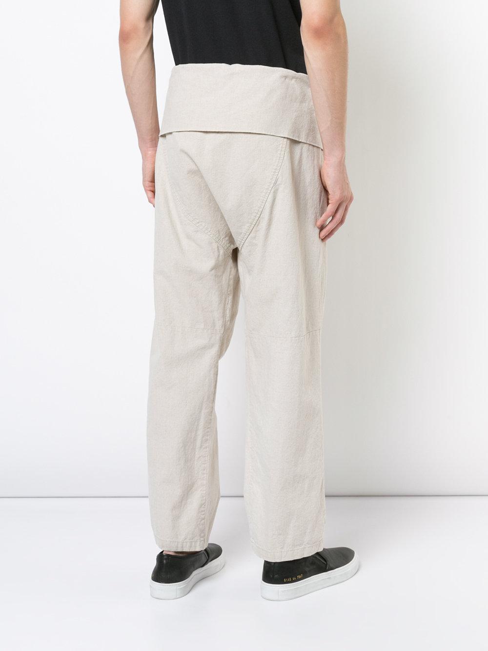 Osklen Linen X Tarsila Folded Waistband Straight Leg Trousers in Natural for Men
