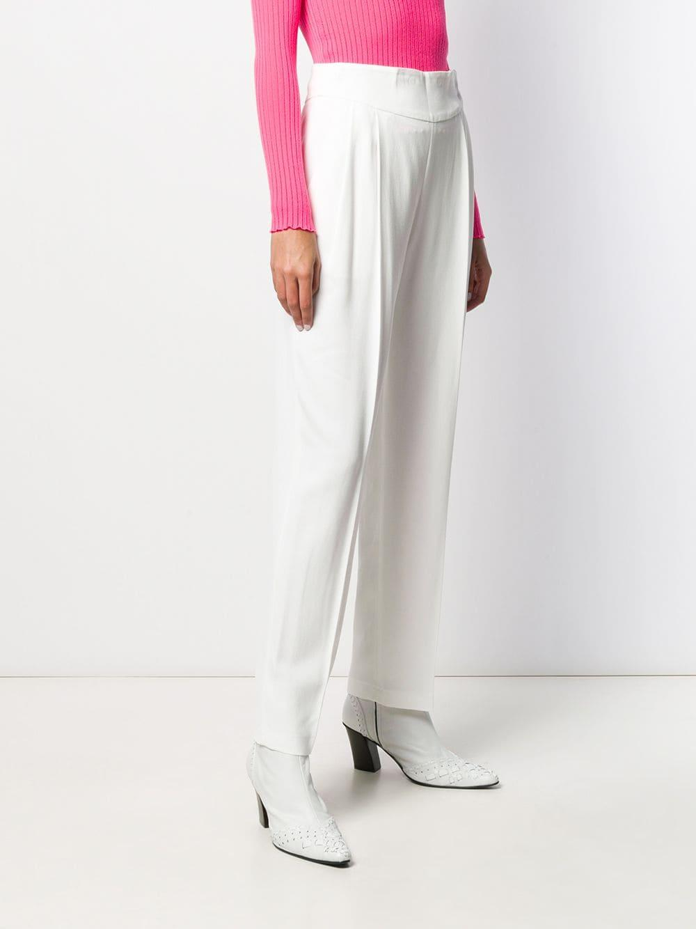 Pantalones de vestir de talle alto MSGM de Tejido sintético de color Blanco