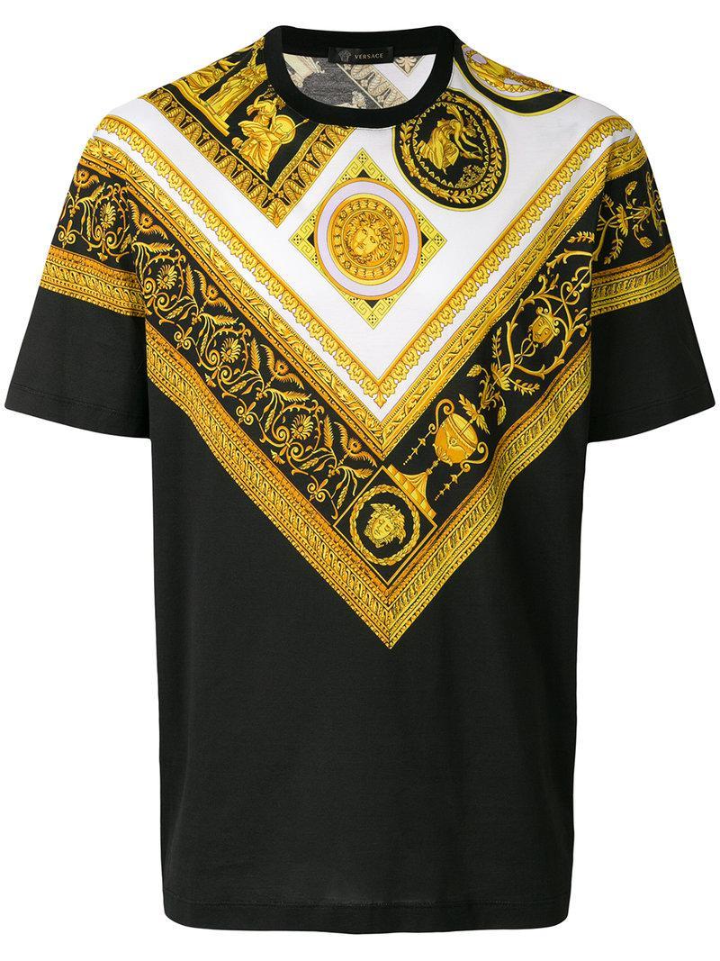 versace baroque printed t shirt in black for men lyst. Black Bedroom Furniture Sets. Home Design Ideas