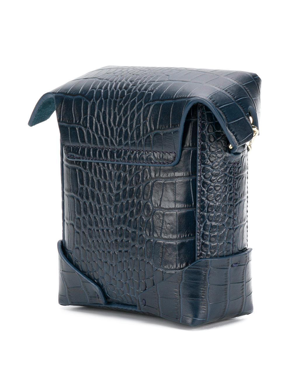 MANU Atelier Leather Micro Pristine Cross Body Bag in Blue