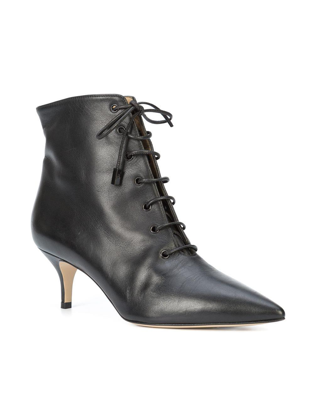 Paul Andrew Leather Lace-up Ankle Boots in Black