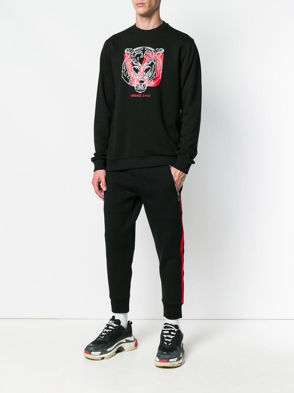 Versace Jeans Couture Cotton Graphic Logo Print Sweatshirt in Black for Men