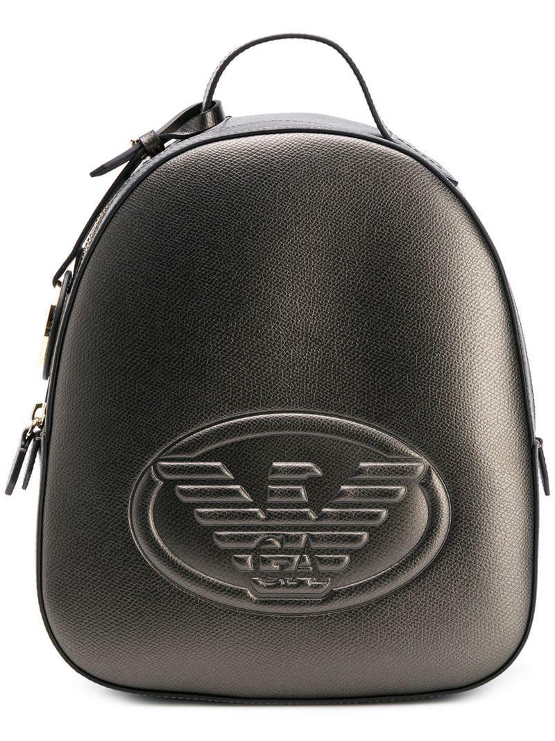 c01c4e7ba1568 Emporio Armani Logo Embossed Backpack in Metallic - Lyst