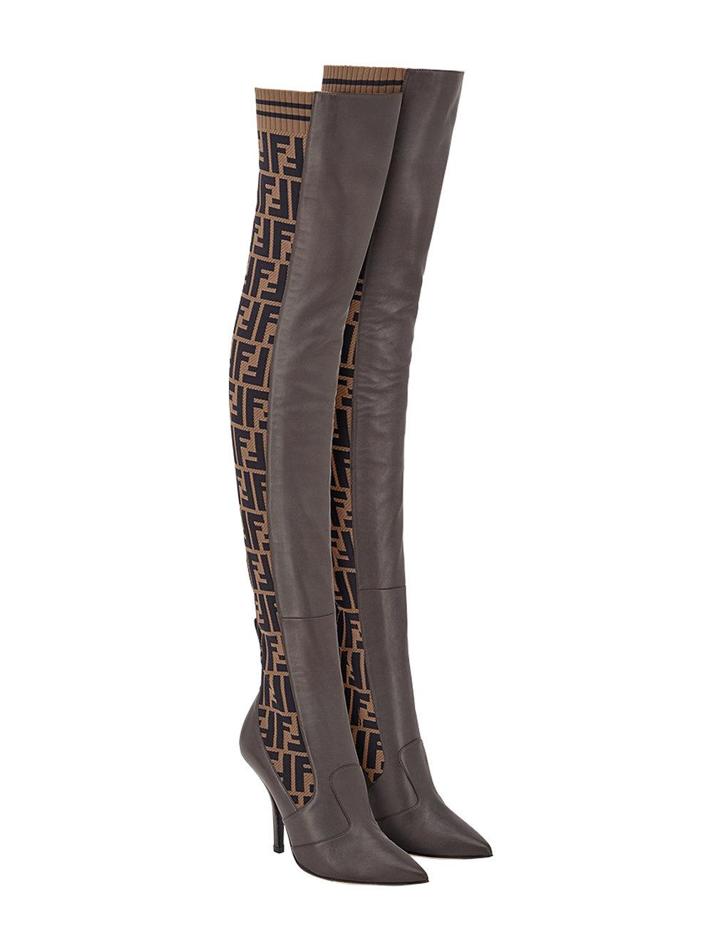 db55fe4a042 Fendi - Brown Ff Motif Thigh-high Boots - Lyst. View fullscreen