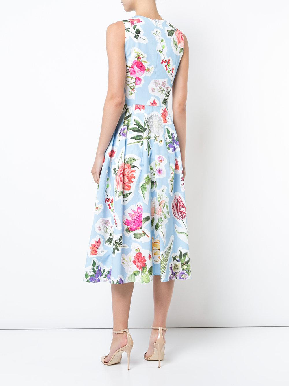 Clearance Pay With Paypal Visit New For Sale flared printed dress - Blue Carolina Herrera Sunshine l3yKoE