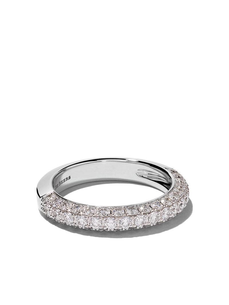 d0a7b988f224 Lyst - De Beers 18kt White Gold Db Darling Half Pavé Diamond Large Band