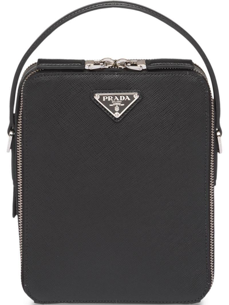 0f35347750e3 Prada - Black Saffiano Leather Shoulder Bag for Men - Lyst. View fullscreen