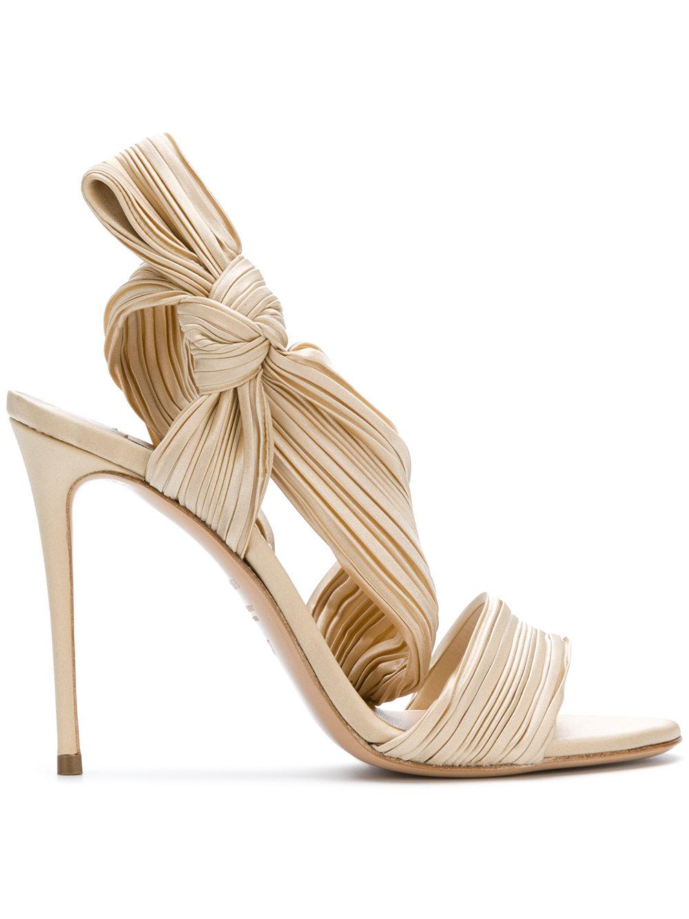 22c6b5184d Casadei Pleated Strap Sandals in Natural - Lyst