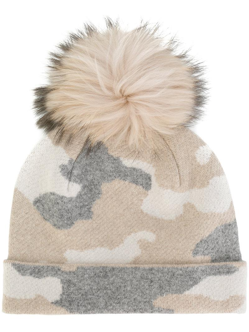 Lyst - Max   Moi Camouflage Print Pom-pom Beanie Hat in Natural 3b0d0ad573f