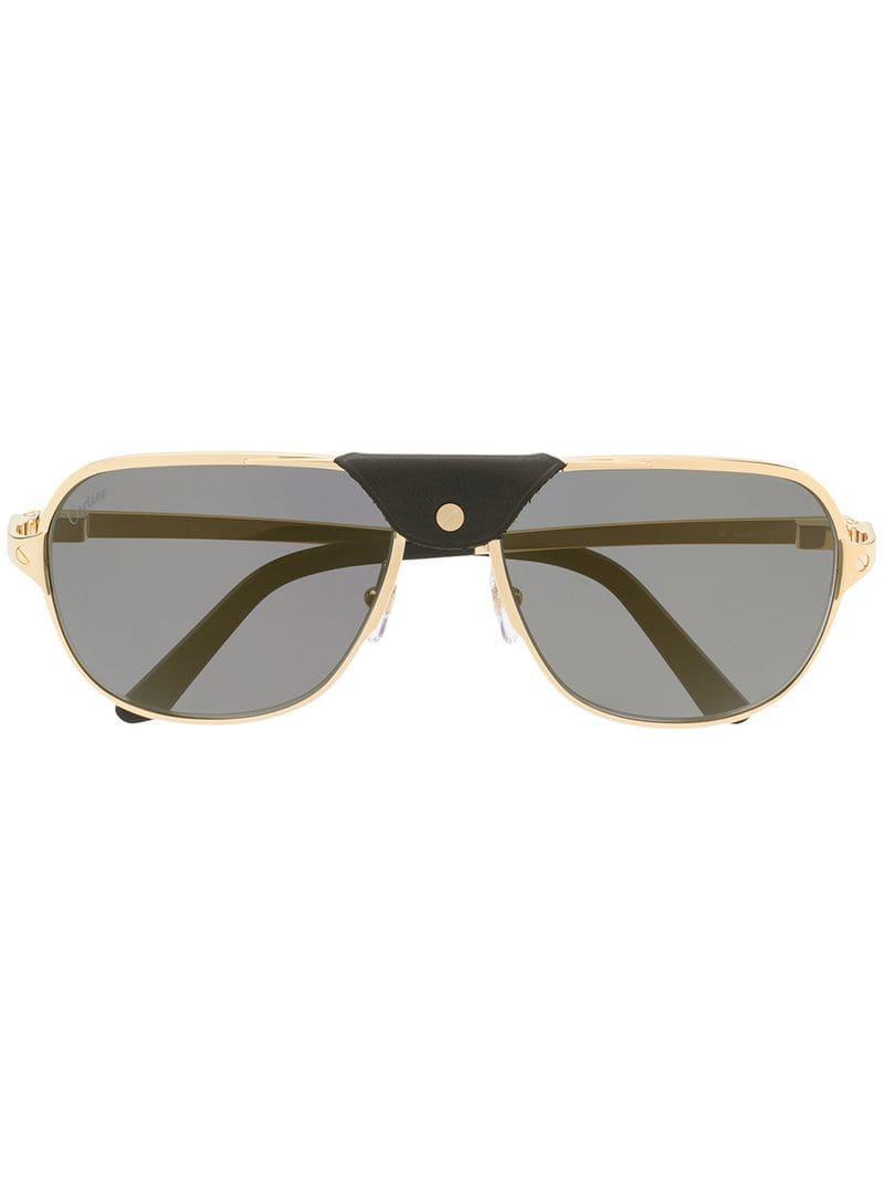 f5a703a12c Cartier Santos De Sunglasses in Metallic - Lyst