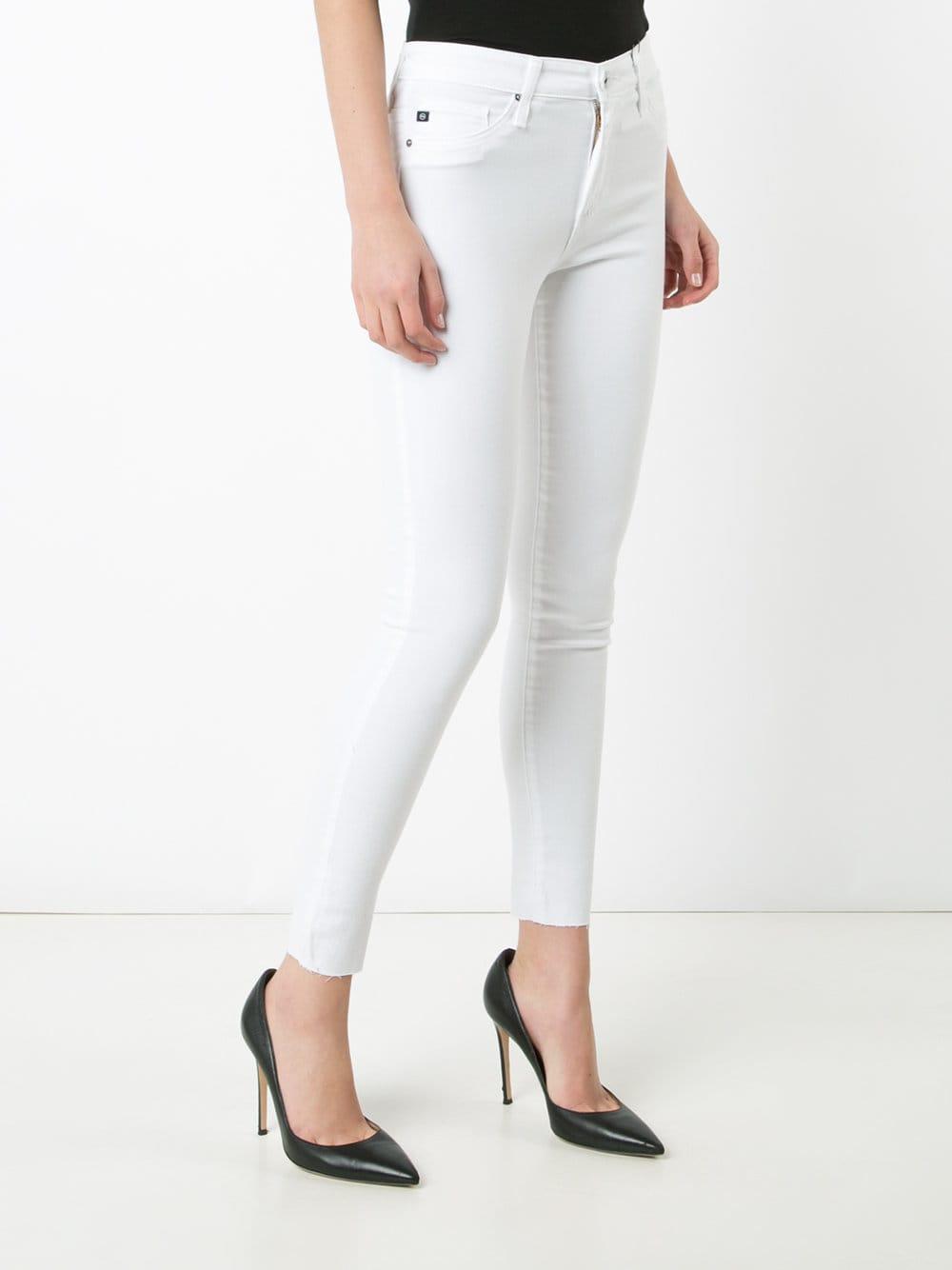 AG Jeans Denim Cropped Super Skinny Jeans in White
