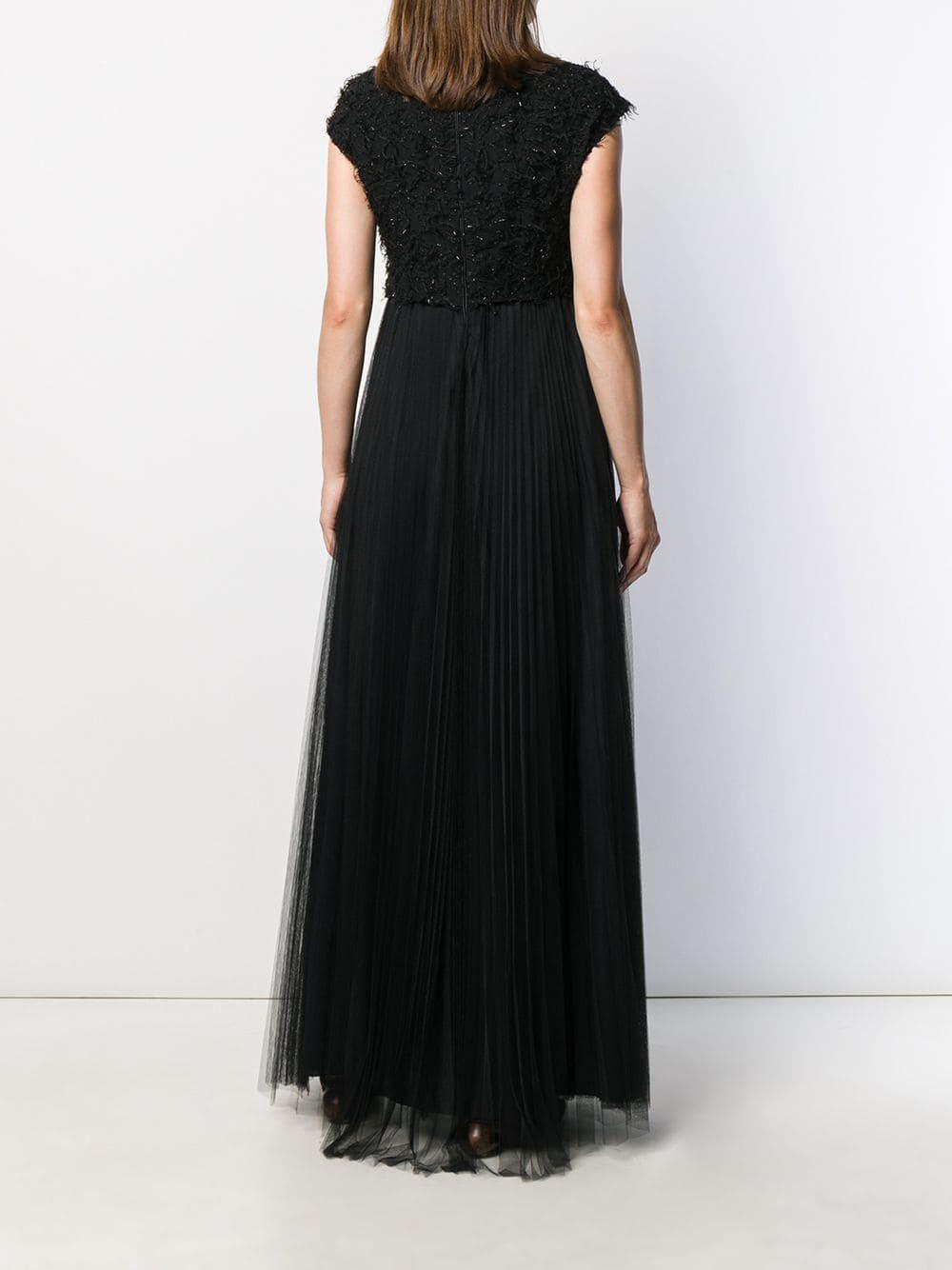 Robe longue à détails texturés Synthétique Fabiana Filippi en coloris Noir