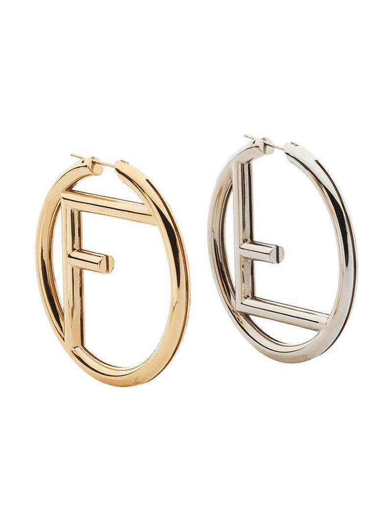 Fendi logo hoop earrings - Red Jn2Ms