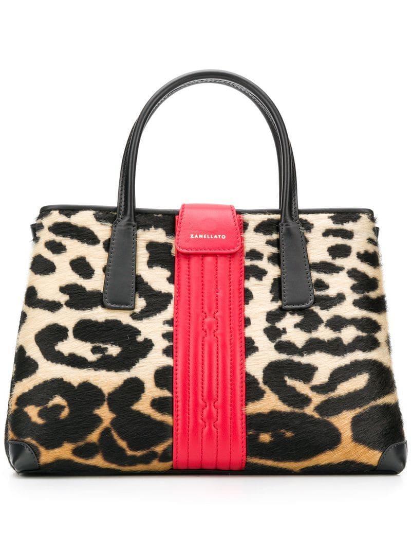 c4a5614b4381 Zanellato - Black Leopard Print Small Tote Bag - Lyst. View fullscreen