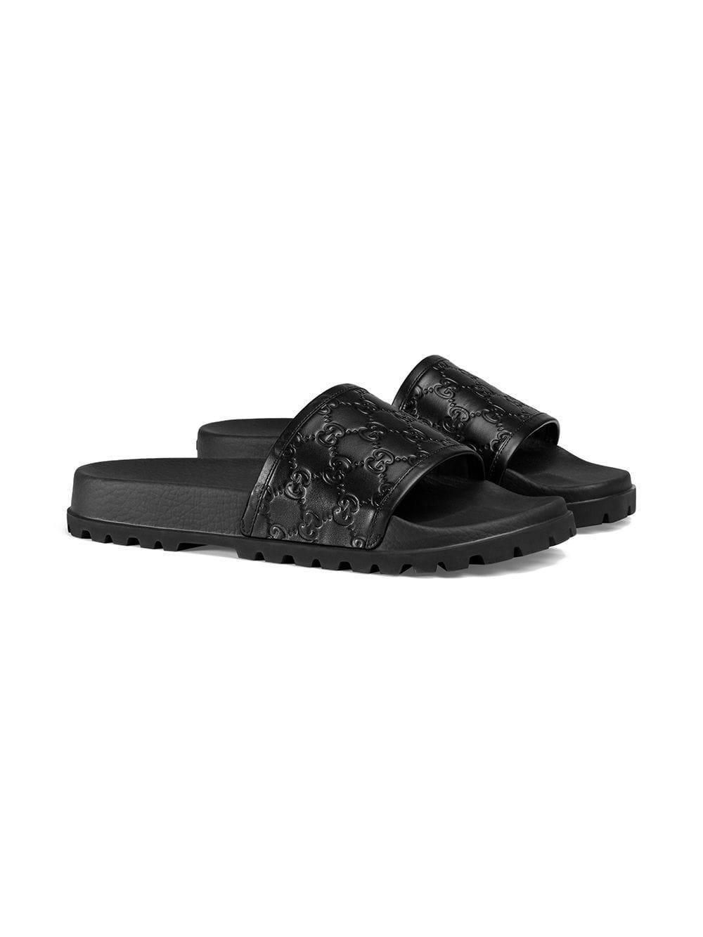 87a79719b14c Lyst - Gucci Signature Slide Sandal in Black for Men - Save 5%